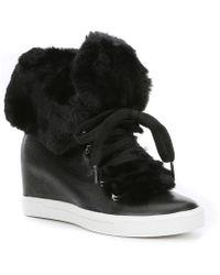 Donna Karan - Cristin Leather Wedge Sneakers - Lyst