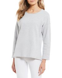 Eileen Fisher Round Neck Long Sleeve Box Top