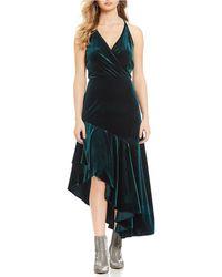 7c42627f6c0 Gianni Bini - Alene Velvet Surplice V-neck Asymmetric Ruffle Hem Maxi Dress  - Lyst