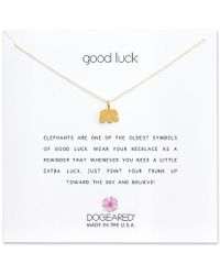 Dogeared - Good Luck Elephant Charm Delicate Gold-dipped Sterling Silver Necklace - Lyst