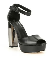 9ad11462e11a Lyst - Michael Kors Black Paloma Sandals With Silver Heel in Black