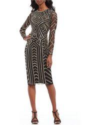 Gianni Bini - Miranda Geometric Beaded Sequin Midi Dress - Lyst