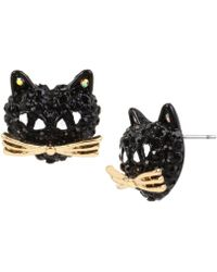 Betsey Johnson - Pavé Black Cat Stud Earrings - Lyst