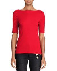 Lauren by Ralph Lauren - Ribbed Cotton Boatneck T-shirt - Lyst