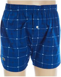 56cc9aef8602 Lyst - Lacoste 3 Pack Signature Print Woven Boxer in Blue for Men