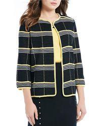 Ming Wang - Plaid Jewel Neck Trimmed Jacket - Lyst