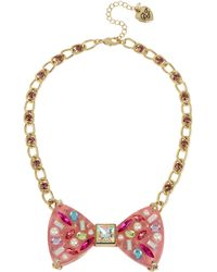 Betsey Johnson - Bow Pendant Necklace (pink) Necklace - Lyst