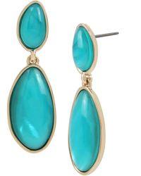Kenneth Cole Blue Shell Stone Double Drop Earrings