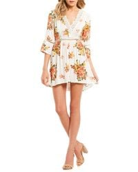 Blu Pepper - V-neck Floral Print Fit-and-flare Dress - Lyst