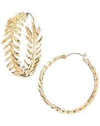 Vince Camuto - Leaf Hoop Earrings - Lyst