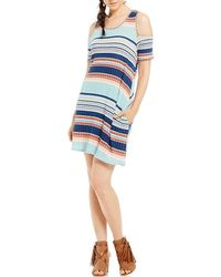 Rossmore. - By Ppla Louise Horizontal-stripe Cold Shoulder Swing Dress - Lyst
