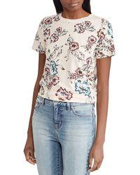 Lauren by Ralph Lauren - Floral Print Short Sleeve Jersey T-shirt - Lyst