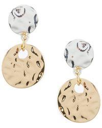 Dillard's - Two Tone Disc Earrings - Lyst