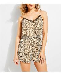 Guess - Yasmine Leopard Print Slip Romper - Lyst