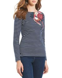 Joules - Harbour Striped Floral Placement Print Long Sleeve Top - Lyst