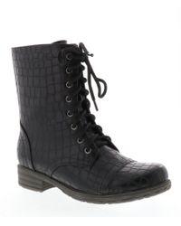 Volatile - Crocodile Embrossed Underground Lace Up Block Heel Combat Boots - Lyst