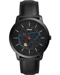 Fossil - Minimalist Three-hand Black Leather Watch - Lyst