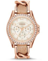 Fossil - Ladies ́ Riley Multifunction Glitz Rose Gold Tone Stainless Steel Watch - Lyst