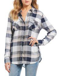 abb0248c92415 Lyst - Jessica Simpson Plaid Button-down Shirt in Blue