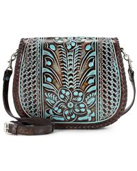 Patricia Nash - Tooled Turquoise Collection Savini Floral-embossed Saddle Bag - Lyst