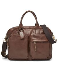 Fossil - Defender Leather Double Zip Laptop Work Bag - Lyst