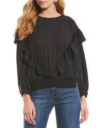 Gianni Bini - Adriana Long Sleeve Ruffle Blouse - Lyst