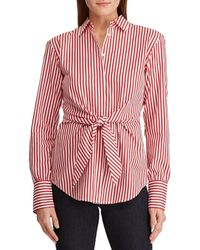 16977cb5e13d89 Lyst - Lauren by Ralph Lauren Longsleeve Striped Silk Shirt in Yellow