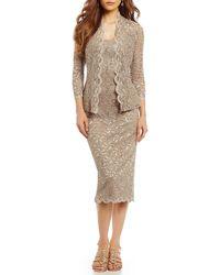 ae33def0fc5e Lyst - Alex Evenings Petite Lace Chiffon Tea-length Dress in Metallic