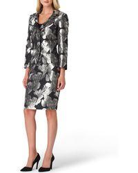 Tahari - Floral Metallic Jacquard Notch Collar Jacket 2-piece Skirt Suit - Lyst
