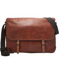 Fossil - Defender Leather Messenger Bag - Lyst