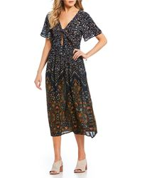 Patrons Of Peace - Dress Mixed Media Print Tie Front Dress - Lyst