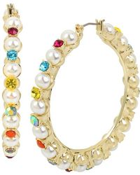 Betsey Johnson - Pearl And Colorful Stone Hoop Statement Earrings - Lyst