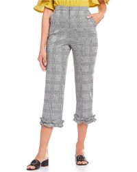 Sugarlips - Ruffle Hem Menswear Houndstooth Plaid Cropped Trousers - Lyst