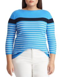 03072d56ead25 Lauren by Ralph Lauren - Plus Size Cotton-blend Stripe Boatneck Sweater -  Lyst