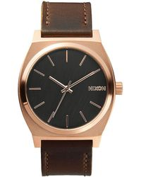 Nixon - The Time Teller Analog Leather Strap Stainless Steel Analog Watch - Lyst
