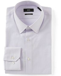 1b92ea85 BOSS - Boss Regular Fit Point Collar Dotted Stripe Dress Shirt - Lyst