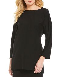 Eileen Fisher - Round Neck 34 Bracelet Sleeve Tunic - Lyst
