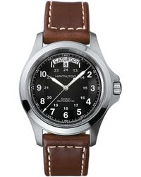Hamilton - Khaki King Automatic Day & Date Leather-strap Watch - Lyst