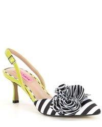 8122c1f542 Betsey Johnson Mandy Multicolor Raffia Ankle Strap Striped Block ...
