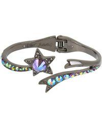 Betsey Johnson - Hematite-tone Crystal Star Bangle Bracelet - Lyst
