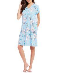 ae040da697 Miss Elaine - Floral-printed Interlock Grip-front Short Robe - Lyst