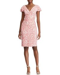 Lauren by Ralph Lauren - Floral Dress With Frilled Sleeves - Lyst