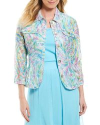 Ruby Rd. - 3/4 Sleeve Button Front Paint Splash Print Crinkle Burnout Jacket - Lyst