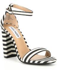 201091abb67c Steve Madden - Carrson Ankle Strap Striped Block Heel Dress Sandals - Lyst