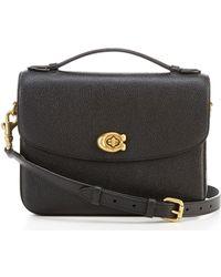 10ef4b14 COACH Polished Pebbled Leather Fold-over Crossbody (li Oxblood) Cross Body  Handbags in Black - Lyst