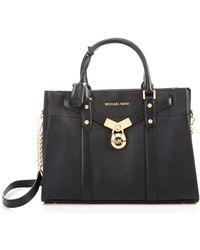 MICHAEL Michael Kors - Nouveau Hamilton Large Leather Satchel Bag - Lyst