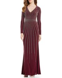 dfe23a42355 Xscape Cap-Sleeve Illusion Beaded Gown in Gray - Lyst