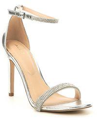 e89099f5e0ea ALDO Valecia Leopard Print Caged Dress Sandals in Brown - Lyst