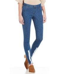 c77daabdd47cd3 Lyst - Hue Shredded Denim Leggings in Blue
