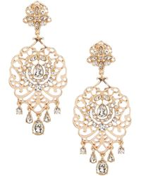 Belle By Badgley Mischka - Pave Filigree Chandelier Statement Earrings - Lyst